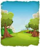 Cartoon Rural Landscape Background Royalty Free Stock Photography
