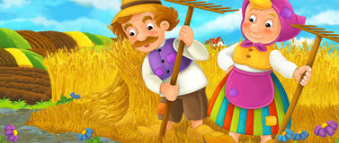 Cartoon rural scene with farmers Stock Image