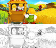Cartoon rural scene with royal cat visiting farmers - with coloring page Stock Images
