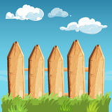 Cartoon rural wooden fence blue sky vector illustration. Fence wooden outdoor Stock Image