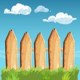 Cartoon rural wooden fence blue sky vector illustration Stock Image
