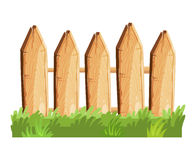 Cartoon rural wooden fence in green grass vector illustration. Wood farm fence outdoor Royalty Free Stock Images