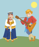 Cartoon russian characters folk musicians Stock Photo