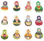Cartoon Russian Doll icon. Vector drawing vector illustration