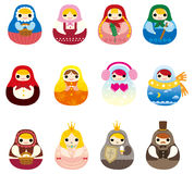 Cartoon Russian Doll icon Stock Photo