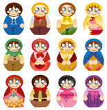 Cartoon Russian Doll icon Stock Images