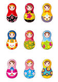 Cartoon Russian dolls Stock Photos