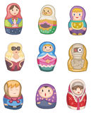 Cartoon Russian dolls icon. Vector drawing Royalty Free Stock Images