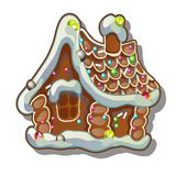 Cartoon rustic wooden house in winter. Gingerbread house. Sketch for greeting card, festive poster or party invitations. The attributes of Christmas and New Stock Image