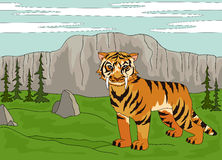 Cartoon saber-toothed tiger on the background of a prehistoric n Stock Photography