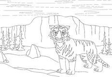 Cartoon saber-toothed tiger on the background of a prehistoric n. Ature. Educational game for kids. Coloring book. Vector illustration Stock Images