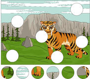 Cartoon saber-toothed tiger on the background Royalty Free Stock Photos