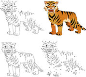 Cartoon saber-toothed tiger. Coloring book and dot to dot game f. Cartoon saber-toothed tiger. Coloring book and dot to dot educational game for kids Stock Image