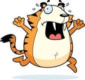 Cartoon Saber-Toothed Tiger Panic. A cartoon saber-toothed tiger running in a panic royalty free illustration