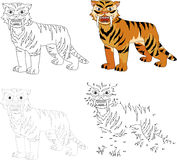 Cartoon saber-toothed tiger. Vector illustration. Dot to dot gam Stock Image