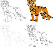 Cartoon saber-toothed tiger. Vector illustration. Dot to dot gam Royalty Free Stock Photography