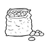 Cartoon sack of potatoes Royalty Free Stock Images
