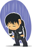 Cartoon of Sad Boy. A vector image of a kid feeling depressed and sad. Drawn in cartoon style, this vector is very good for design that need sadness concept in Stock Photo