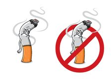 Cartoon sad cigarette butt character. With fire, smoke and stop sign for health concept design Royalty Free Stock Image