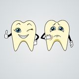 Cartoon of sad and happy teeth Royalty Free Stock Image