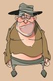 Cartoon sad homeless man in tattered clothes. Cartoon sad homeless man in hat and tattered clothes Royalty Free Stock Photo