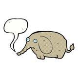 Cartoon sad little elephant with speech bubble Royalty Free Stock Image