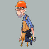 Cartoon sad man in helmet and working clothes with tools Royalty Free Stock Image