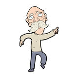 Cartoon sad old man pointing Royalty Free Stock Photos