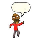 Cartoon sad old man pointing with speech bubble Stock Photos