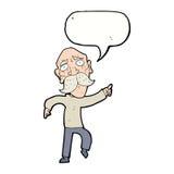 Cartoon sad old man pointing with speech bubble Stock Photo