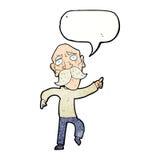 Cartoon sad old man pointing with speech bubble Royalty Free Stock Photos