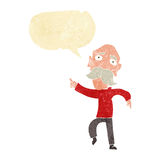Cartoon sad old man pointing with speech bubble Royalty Free Stock Photo