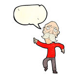 Cartoon sad old man pointing with speech bubble Stock Photography
