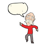 Cartoon sad old man pointing with speech bubble Stock Images
