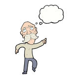 Cartoon sad old man pointing with thought bubble Stock Photography