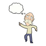 Cartoon sad old man pointing with thought bubble Royalty Free Stock Photos