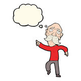Cartoon sad old man pointing with thought bubble Stock Photo