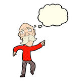 Cartoon sad old man pointing with thought bubble Royalty Free Stock Photography