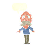 Cartoon sad old man with speech bubble Stock Photos