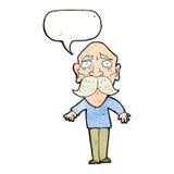 Cartoon sad old man with speech bubble Royalty Free Stock Image