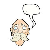 Cartoon sad old man with speech bubble Royalty Free Stock Images