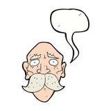 Cartoon sad old man with speech bubble Royalty Free Stock Photo