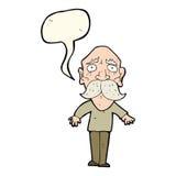 Cartoon sad old man with speech bubble Stock Image