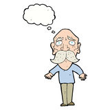 Cartoon sad old man with thought bubble Stock Photography