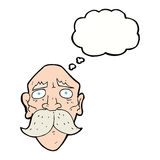 Cartoon sad old man with thought bubble Royalty Free Stock Photos