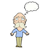 Cartoon sad old man with thought bubble Royalty Free Stock Image