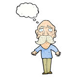 Cartoon sad old man with thought bubble Stock Image