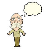 Cartoon sad old man with thought bubble Royalty Free Stock Photo