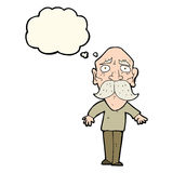 Cartoon sad old man with thought bubble Stock Images