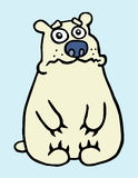 Cartoon sad polar bear. Vector illustration. stock images